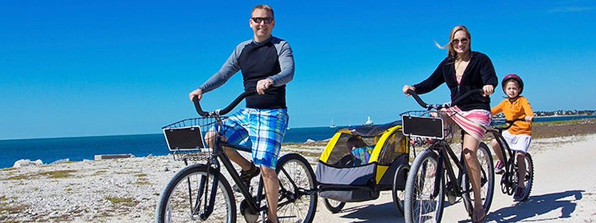 family riding bikes